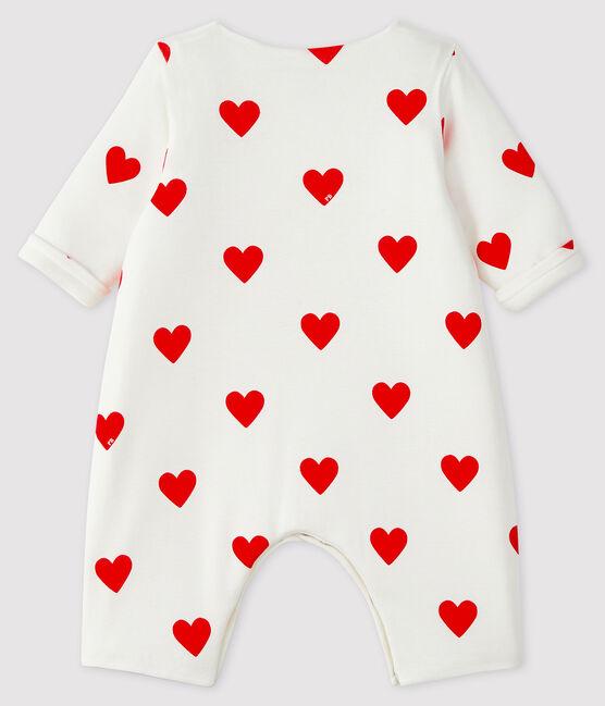 Langer Baby-Overall aus Rippstrick mit roten Herzen weiss Marshmallow / rot Terkuit