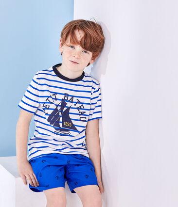 Bedrucktes Jungen-T-Shirt mit Streifen weiss Marshmallow / blau Perse