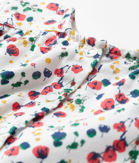 Langärmelige gemusterte Baby-Bluse für Mädchen weiss Marshmallow / weiss Multico