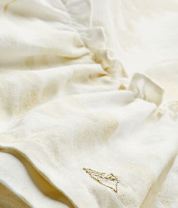 Baby-Mädchen-Kleid aus Baumwollvoile mit Print weiss Marshmallow / weiss Multico