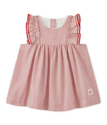 Gestreiftes Baby-Mädchen-Kleid aus Popeline