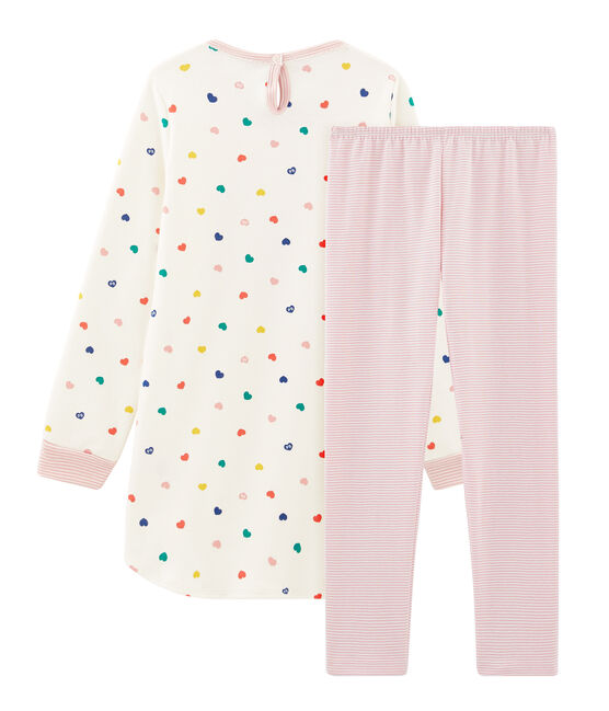 Langärmeliges Nachthemd mit Herzmuster aus Doubleface-Jersey für Mädchen weiss Marshmallow / weiss Multico