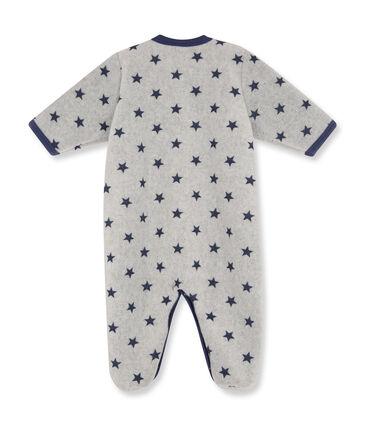 Baby-Jungen-Overall aus bedrucktem Fleece grau Subway / blau Logo