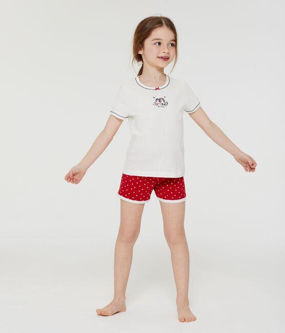 Rippstrick-Kurzpyjama für kleine Mädchen rot Terkuit / weiss Marshmallow