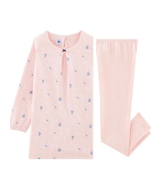 Langärmeliges Nachthemd mit Pinguin-Muster aus Doubleface-Jersey für kleine Mädchen rosa Minois / weiss Multico
