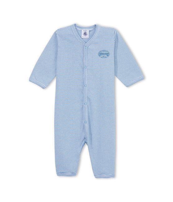 Geringelter Baby-Jungen-Strampler ohne Fuß blau Alaska / weiss Ecume