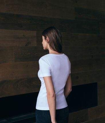 Emblematisches kurzärmliges T-Shirt für Damen weiss Ecume