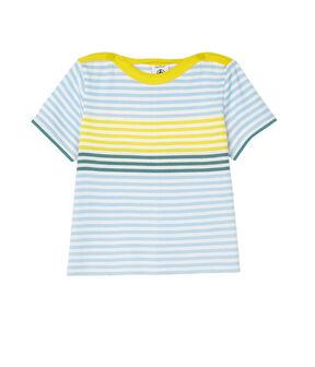 Gestreiftes Baby-T-Shirt für Jungen weiss Marshmallow / weiss Multico