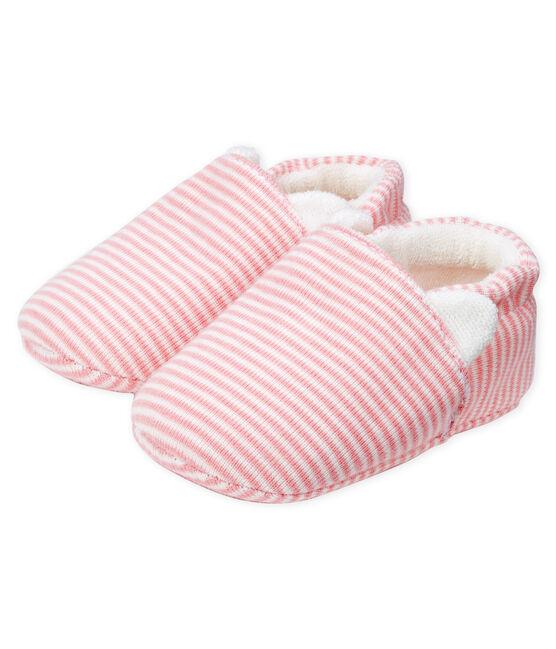 Babyschuhe aus Rippstrick rosa Charme / weiss Marshmallow