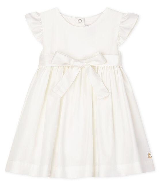 Kurzärmeliges Baby-Kleid aus Satin für Mädchen weiss Marshmallow