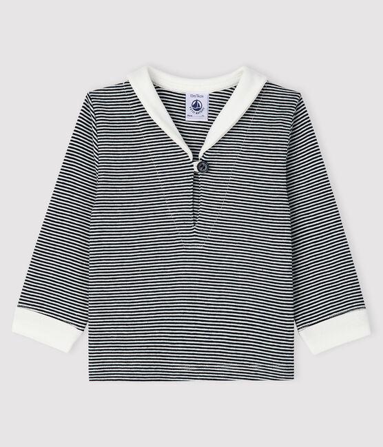 Baby-T-Shirt mit Ringelmuster für Jungen blau Smoking / weiss Marshmallow