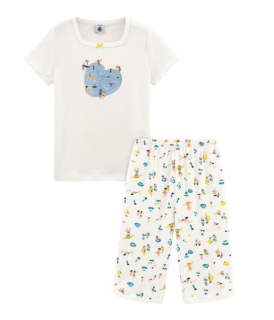 Rippstrick-Kurzpyjama für kleine Mädchen weiss Marshmallow / weiss Multico Cn