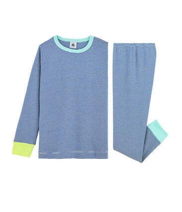 Rippstrick-Pyjama für kleine Jungen blau Pablito / weiss Marshmallow