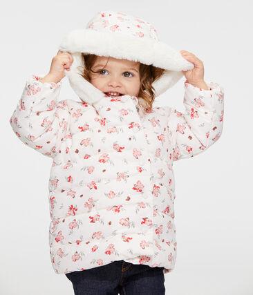 Gemusterte Baby-Jacke aus Mikrofaser für Mädchen rosa Fleur / weiss Multico