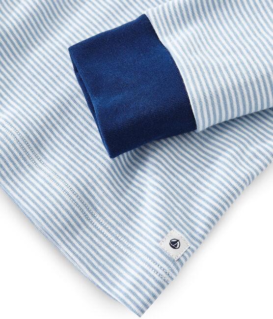 Rippstrick-Pyjama für Jungen blau Acier / weiss Marshmallow