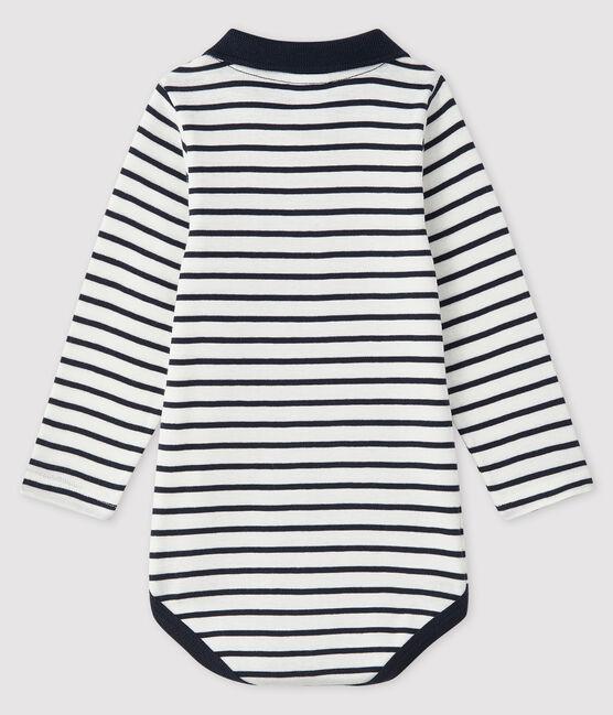 Langärmliger Baby-Body für Jungen weiss Marshmallow / blau Smoking