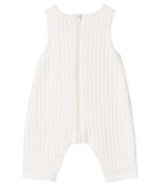 Lange Baby-Latzhose aus gestepptem Doppeljersey für Jungen weiss Marshmallow