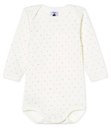 Langärmliger Baby-Body für Jungen weiss Marshmallow / blau Acier