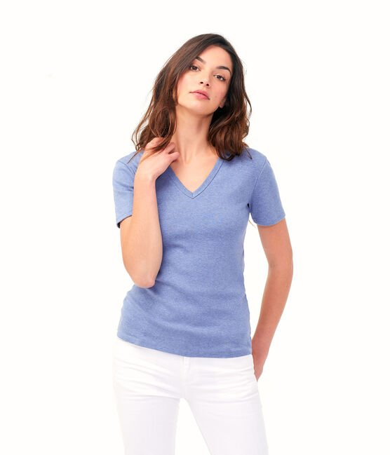 Ikonisches Damen-T-Shirt blau Captain Chine