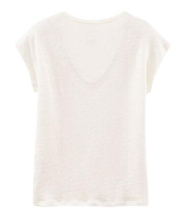 Kurzärmeliges einfarbiges schillerndes leinen-t-shirt damen