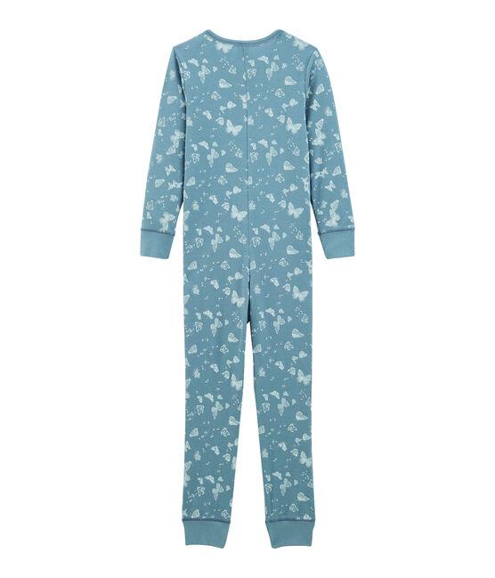 Langer Einteiler aus Baumwolle für kleine Mädchen blau Fontaine / weiss Marshmallow