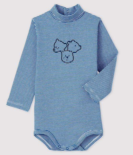 Langärmeliger Baby-Body mit Rollkragen blau Ruisseau / weiss Marshmallow