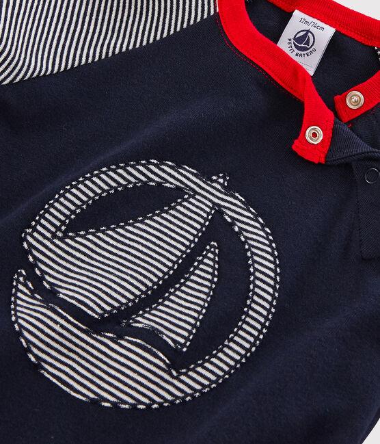 Colorblock-Baby-T-Shirt für Jungen blau Smoking / weiss Marshmallow