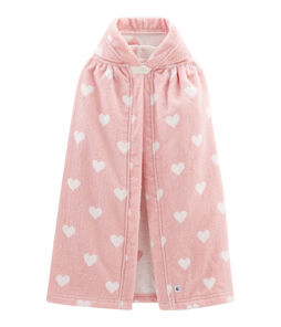 Baby-Badecape aus Frottee rosa Charme / weiss Marshmallow