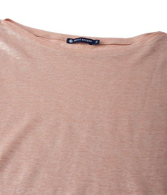 Damen-Langarmshirt aus beschichtetem Leinen rosa Rose / grau Argent