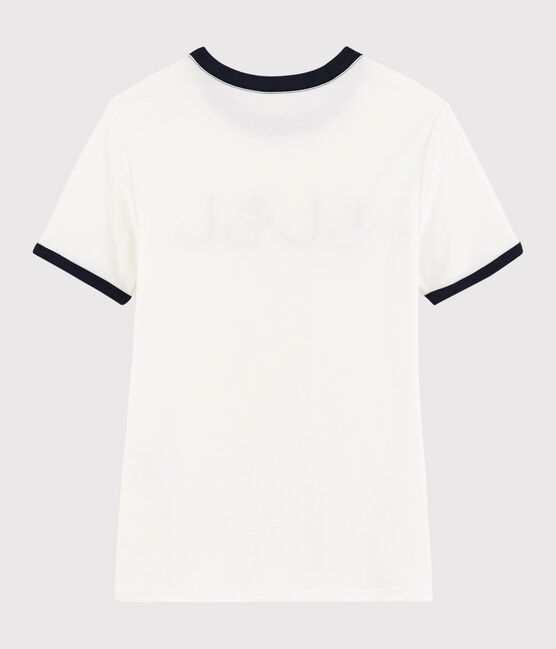 Damen-T-Shirt mit Bonjour-Print weiss Marshmallow / blau Smoking