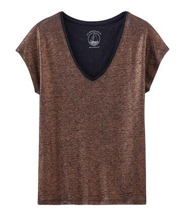 Kurzärmeliges einfarbiges schillerndes leinen-t-shirt damen blau Smoking / rosa Copper