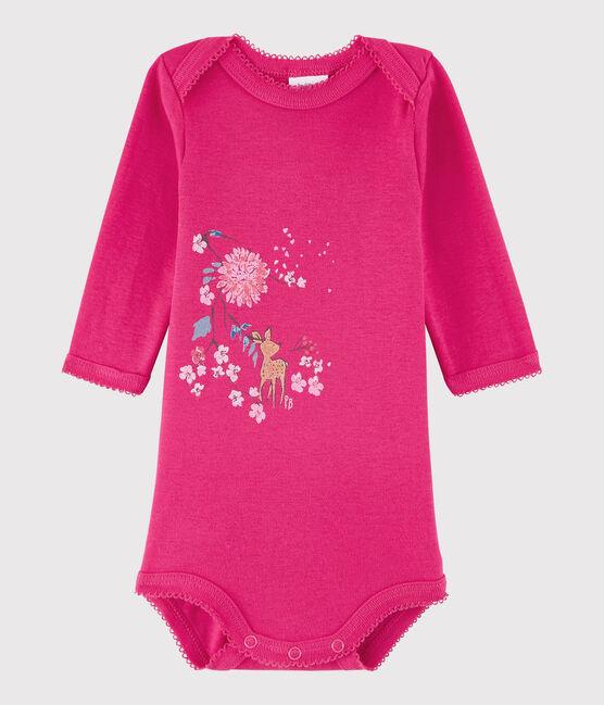 Langärmeliger Baby-Body Mädchen rosa Flashy