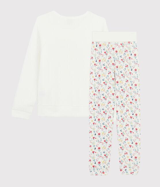 Pyjama mit hoher Taille aus aufgerautem Frottee für kleine Mädchen weiss Marshmallow / weiss Multico