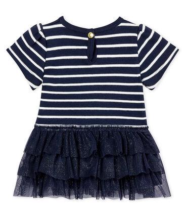 Kleid mit Marinestreifen und Tüll für Baby Mädchen blau Smoking / beige Coquille