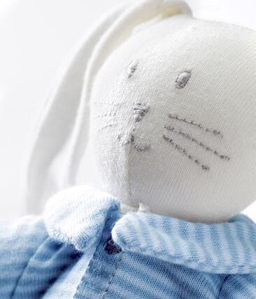 Angezogenes kuschelhäschen blau Fraicheur / weiss Marshmallow
