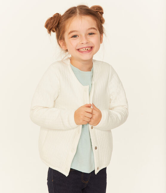 Kinder-Cardigan Mädchen weiss Marshmallow