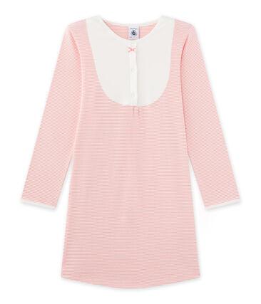 Mädchen-Nachthemd mit Milleraies-Ringelmuster rosa Gretel / weiss Lait
