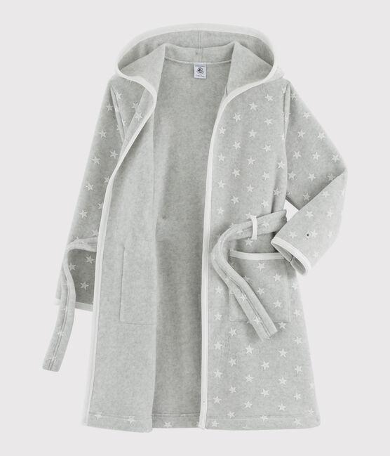 Morgenmantel mit Sternen aus Fleece für Kinder grau Beluga / weiss Ecume