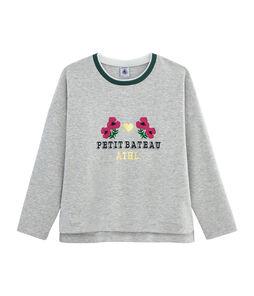 T-Shirt mit Siebdruck für Mädchen grau Beluga
