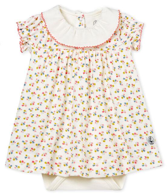 Gemustertes baby-bodykleid mädchen weiss Marshmallow / weiss Multico