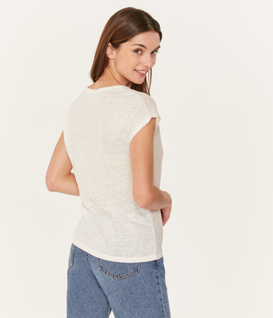 Kurzärmeliges einfarbiges schillerndes leinen-t-shirt damen weiss Marshmallow / rosa Copper