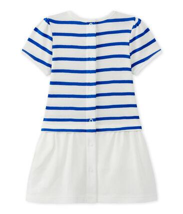 Kurzärmeliges Baby-Mädchen-Kleid weiss Marshmallow / blau Perse