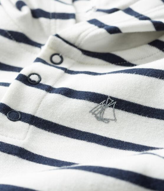 Baby-Kapuzenbody für Jungen weiss Marshmallow / blau Smoking