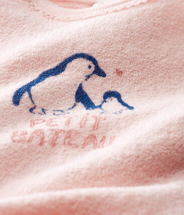 Baby-Strampler aus angerautem, extra warmem Bouclé-Frottier für Mädchen rosa Minois