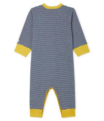 Baby-Strampler ohne Füße aus Rippstrick für Jungen blau Medieval / weiss Marshmallow