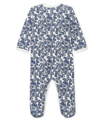 Baby-Strampler aus Rippstrick für Jungen weiss Marshmallow / blau Medieval