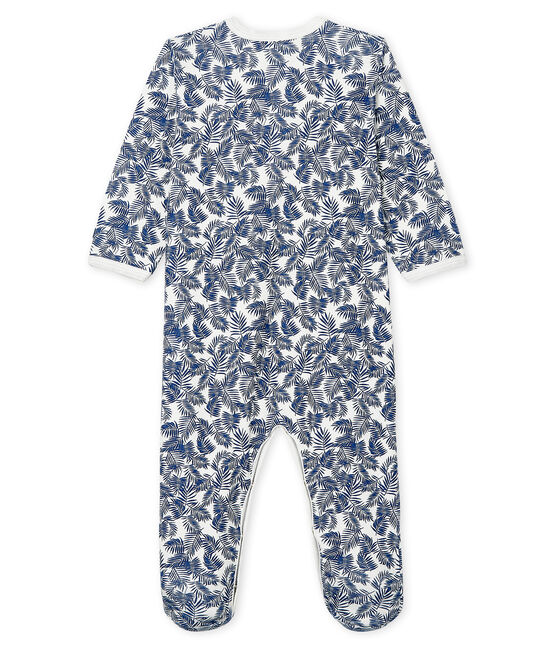 Baby-Strampler aus Rippstrick weiss Marshmallow / blau Medieval