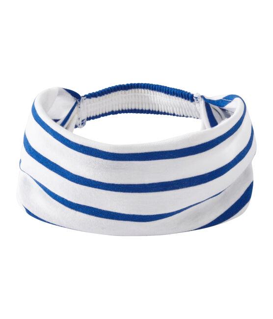 Gestreiftes Mädchen-Kopftuch weiss Marshmallow / blau Perse
