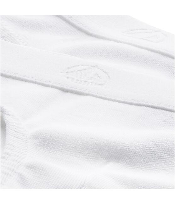 Set aus zwei einfarbigen weißen Slips für kleine Jungen lot .