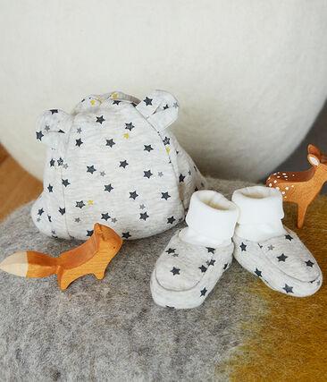 Set mit Mützchen und Babyschuhen aus Wolle und Baumwolle für Jungen